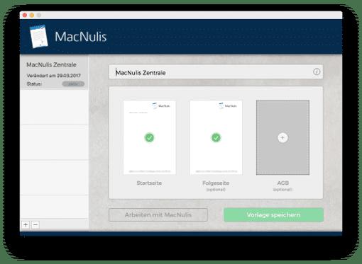 Im Vorlagen-Menü von MacNulis können mehrere Briefpapierdesign hinterlegt werden so dass jedes digital versendete Schriftstück immer CD-konform mit dem richtigen Design verbunden werden kann