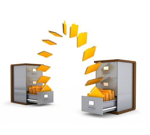 Bei der Dateifreigabe fliegen die Dateien von einem virtuellen Ort zum anderen - den virtuellen Ort symbolisiert ein Aktenschrank