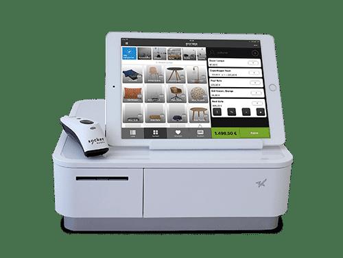 Ein mögliches Hardwarepaket besteht aus einem iPad Air 2 + mPOP + Scanner in silber/weiß