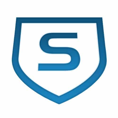 Das Schutzschild als Firmensymbol von Sophos steht für Datensicherheit als oberste Priorität.