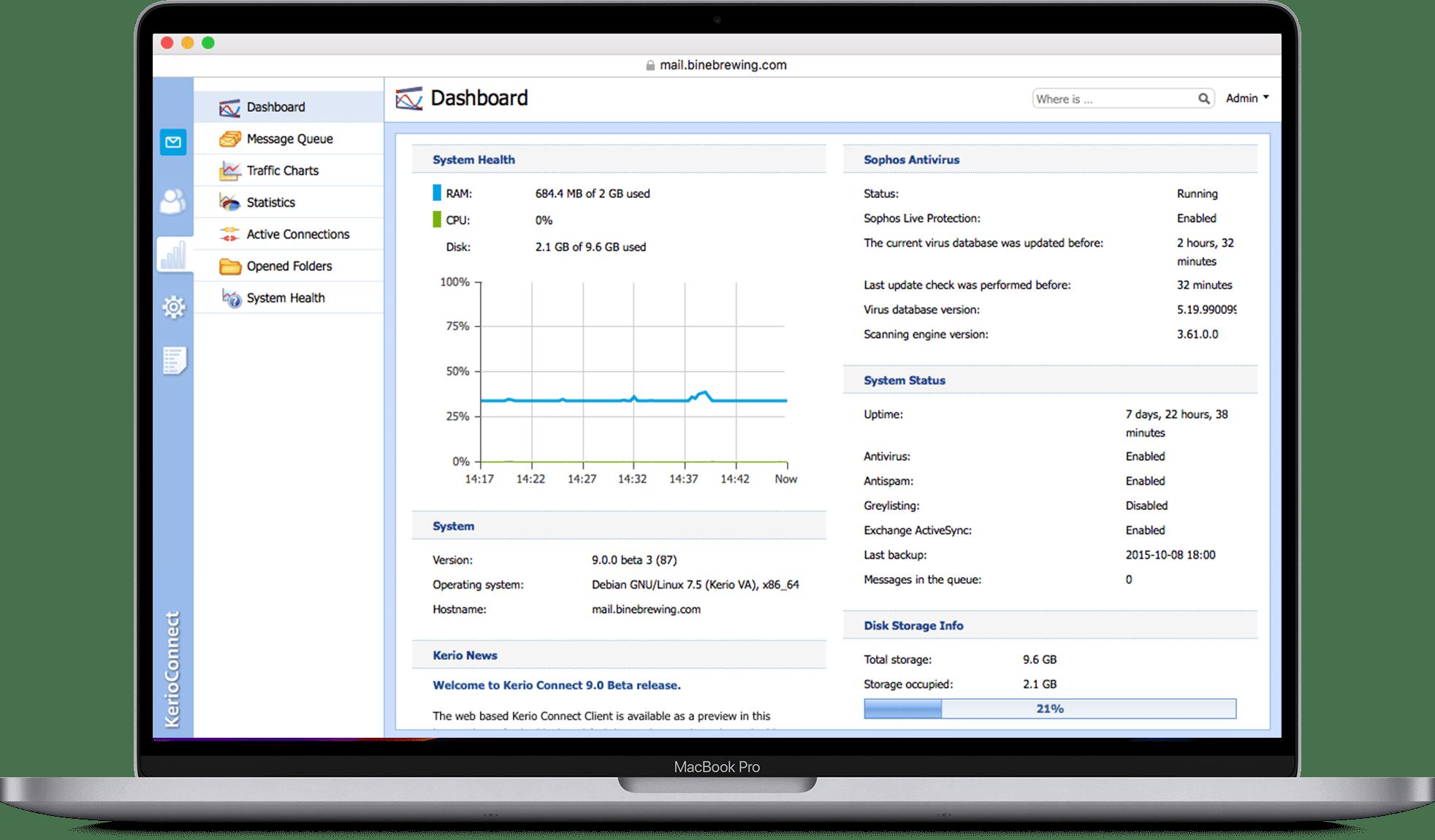 Das Kerio Client Interface ist intuitiv, leicht zu bedienen und besonders für Mac User geeignet